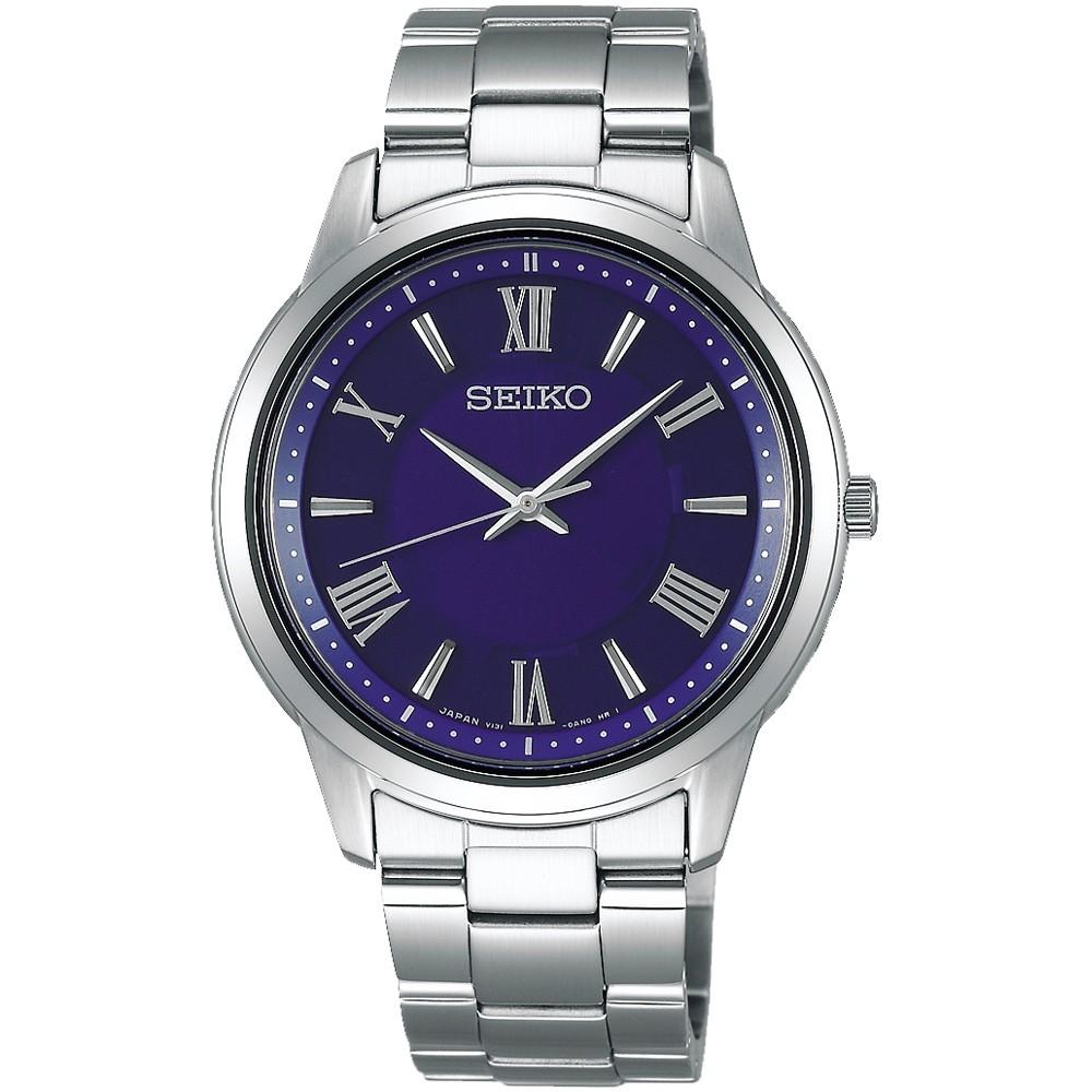 【SEIKO】精工 SPIRIT 太陽能羅馬時標時尚腕錶 SBPL009J / V131-0AG0B 藍/銀 38mm