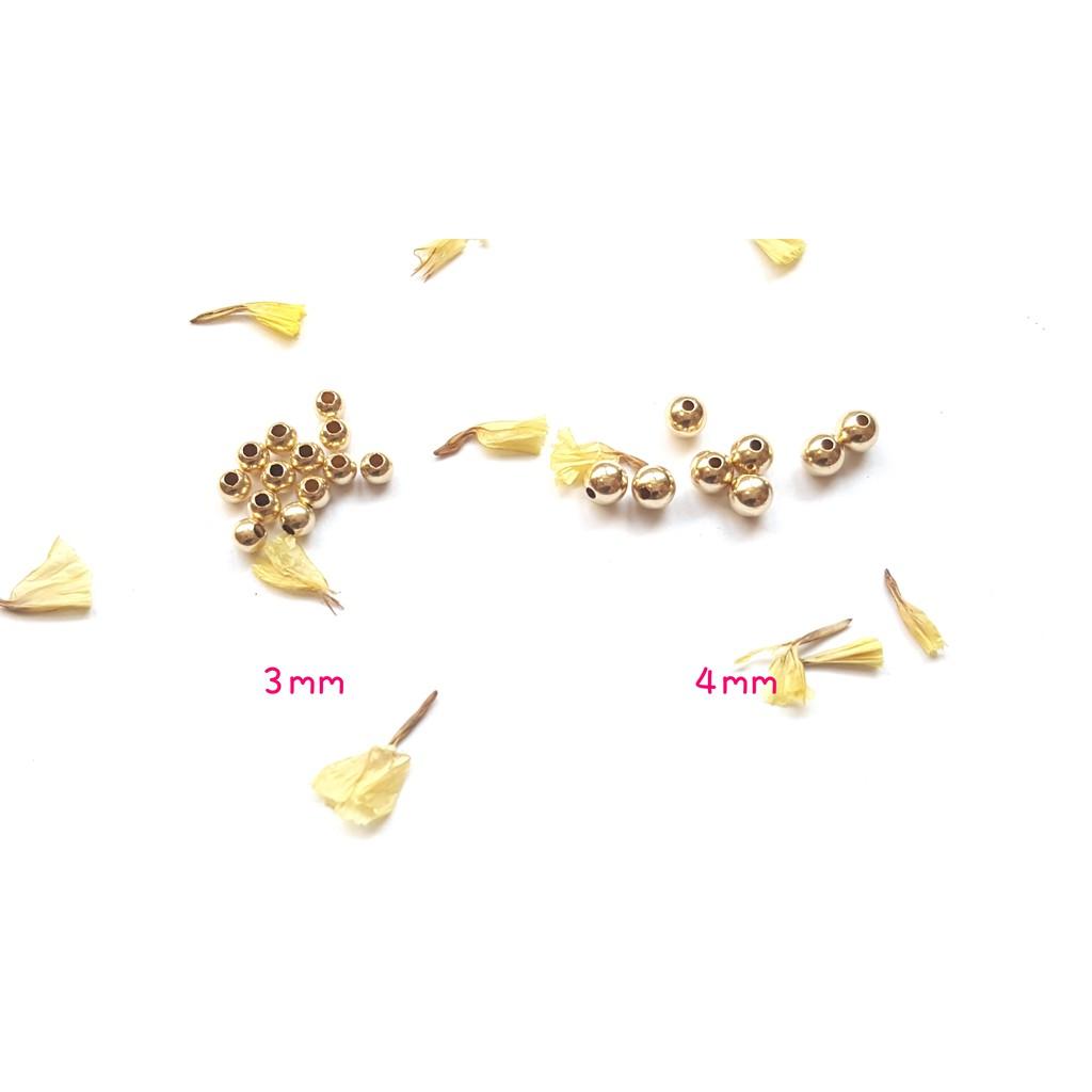 【Pure手作材料舖】美國14k包金『淡金』金珠(0.3cm*5顆/0.4cm*5顆) 圓珠 材料 注金 14kgf
