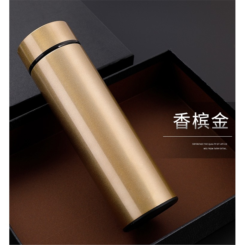 不鏽鋼 雙層 保溫杯 保溫瓶 環保杯 環保瓶 重量輕 防漏水 螺旋杯口 內附不鏽鋼濾網 金色