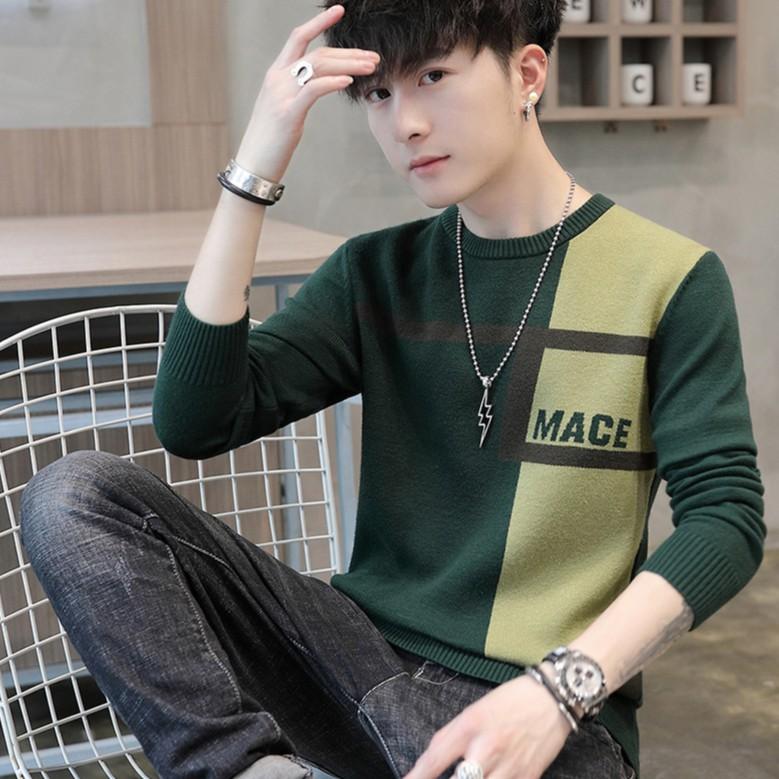 【M世代】毛衣男修身打底衫 青年時尚拼色圓領套頭男式針織衫