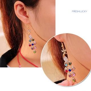 🎐耳飾搭配🎐艷艷多色彩鑽孔雀耳環