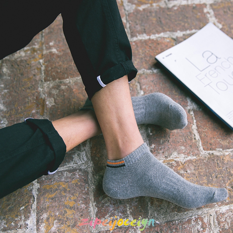 襪子 夏天 粗線針織簡約純色男襪 雙杠低幫短襪 運動百搭男襪 JLM004
