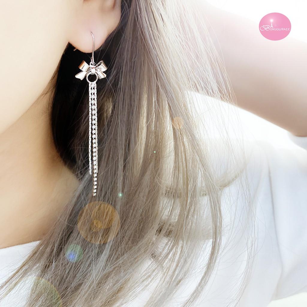 韓國 浪漫長鑽鍊蝴蝶結 耳環 針式 夾式【Bonjouracc】