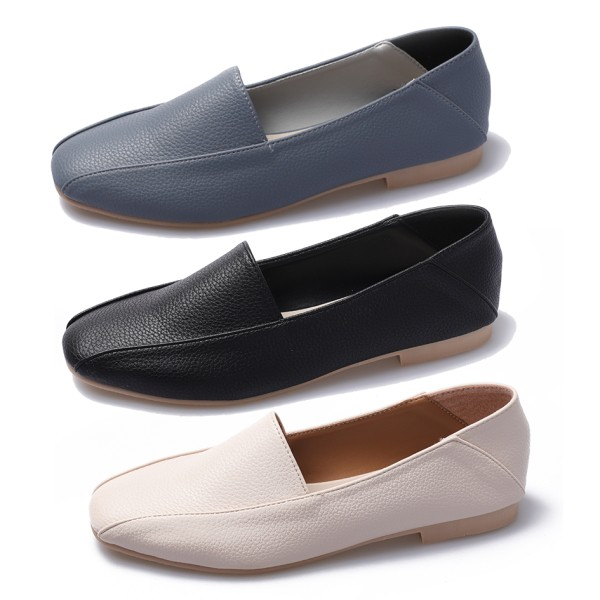 【白鳥麗子】可後踩 MIT韓式歐膩素面皮革流線拼接平底方頭包鞋.