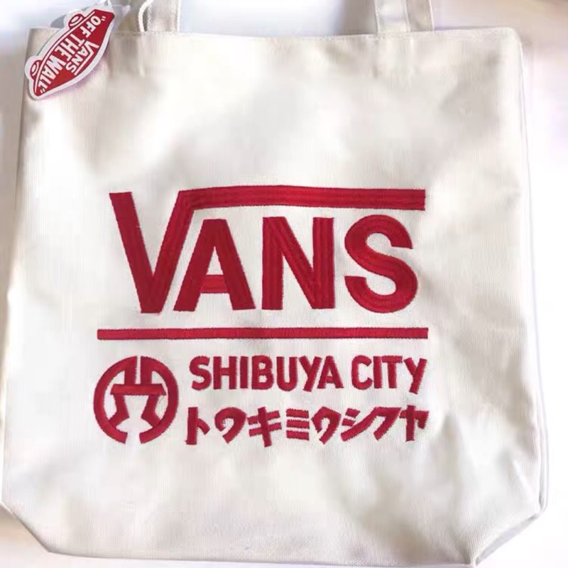 Vans高磅數刺繡logo帆布包
