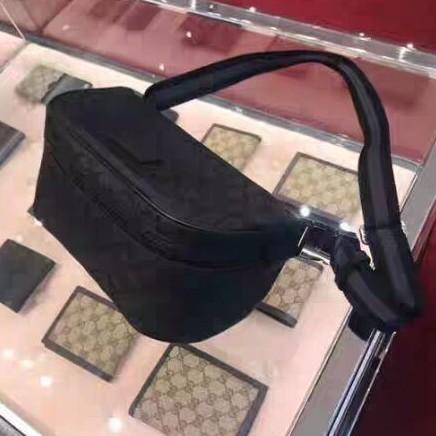 專櫃正品 GUCCI 經典雙G緹花尼龍斜背腰包(實拍)