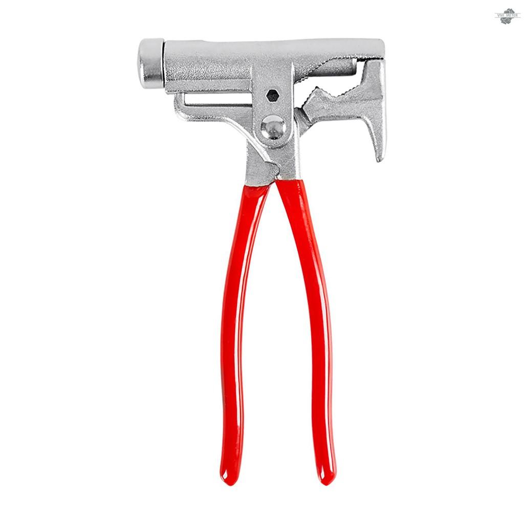 VIVI 10合一萬能錘便攜多功能一體萬用工具:木工錘+螺絲刀+拔釘器+定釘鉗+扳手+管鉗+鋼絲鉗+捲邊+打眼