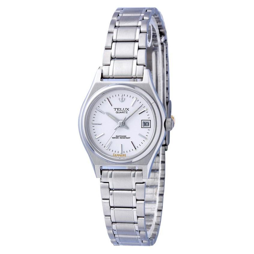 [缺貨中]台灣品牌手錶腕錶【TELUX鐵力士】經典簡約女腕錶25mm台灣製造石英錶9900W-W11鋼帶白面-另有男款