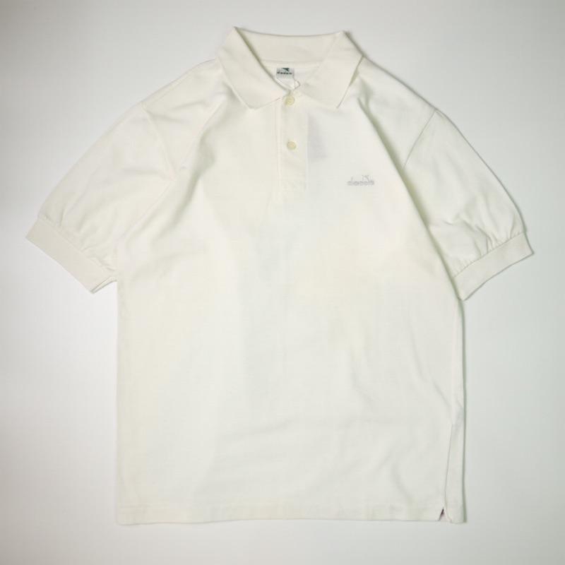 90s Vintage 古著 diadora 簡約純白 Polo衫 短袖上衣
