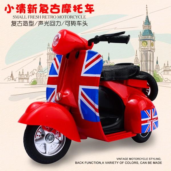 ╭。BoBo媽咪。╮迷你 Q版 超可愛 合金 機車 偉士牌 摩托車 聲光迴力 兒童玩具車