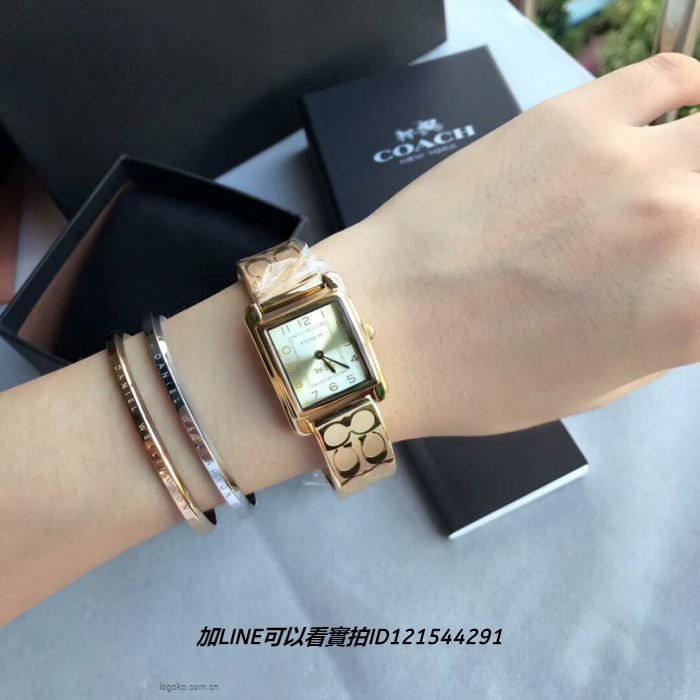 蔻馳Coach手錶 玫瑰金色方形鋼鏈石英錶 時尚奢華女錶33231