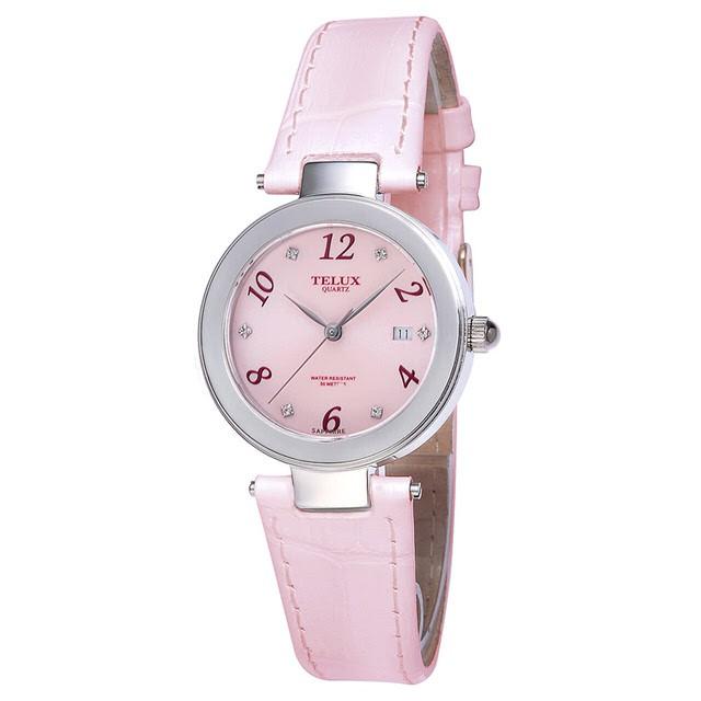 台灣品牌手錶腕錶【TELUX鐵力士】煥彩女神腕錶 30MM台灣製造石英錶7771W-PINK-P粉紅面粉紅皮帶款