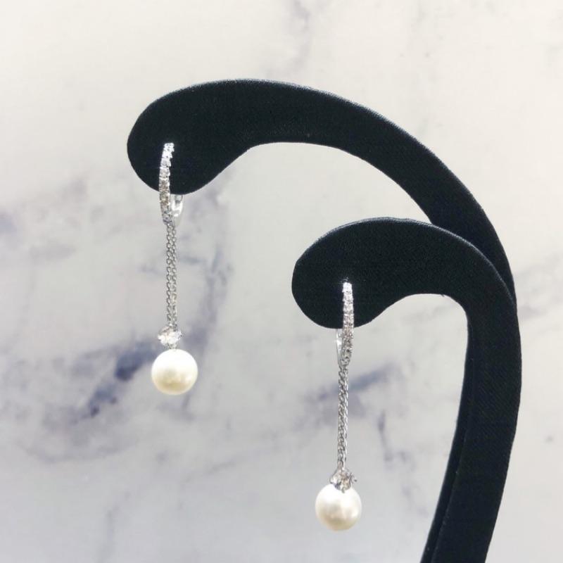 大儷金珠寶銀樓-K金鑲鋯石珍珠垂墜耳環
