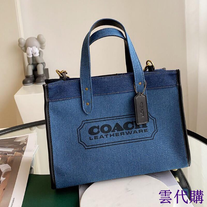 雲代購COACH F89163 專櫃女生帆布包 手提包 單肩包 托特包 時尚牛仔藍配色 女包 附購證