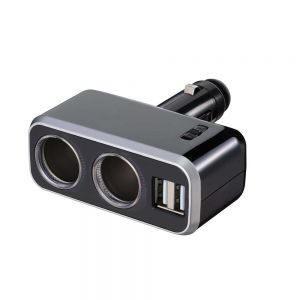 車之嚴選 cars_go 汽車用品【Fizz-991】4.8A雙USB+2孔直插90度可調點煙器鍍鉻電源插座擴充器