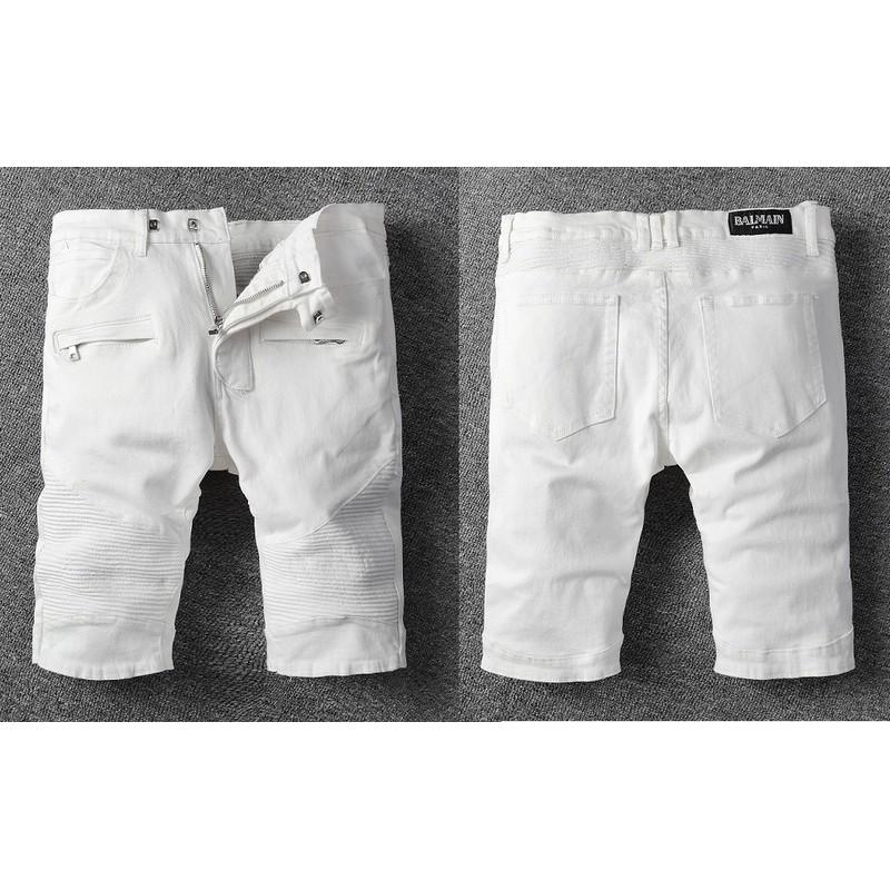 BALMAIN Short JEANS 牛仔短褲 巴爾曼丹寧牛仔短褲 時尚微彈五分褲 水洗破刷破洞牛仔褲 機車褲