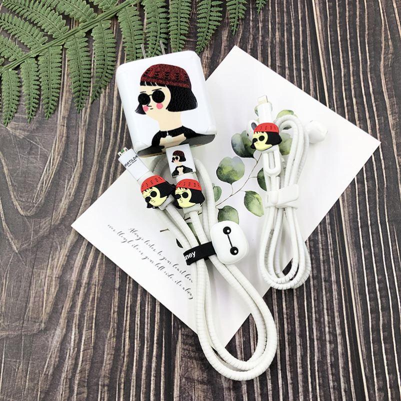 適用OPPOReno5數據線保護套reno5pro充電器65W可愛貼紙耳機纏繞繩