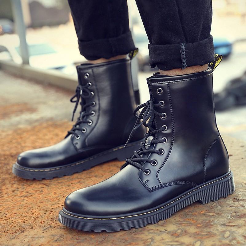 秋季馬丁靴男高幫英倫風男士中幫百塔工裝鞋沙漠皮靴女短靴子男鞋