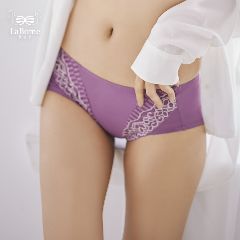 LaBome B50034【極致深V】蕾絲內褲。親膚貼臀包覆。 橄欖綠/深秋紫/霾黎藍。M/L