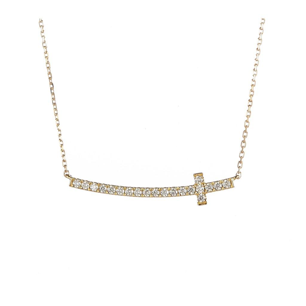 18K金真鑽輕珠寶 優雅十字架項鍊