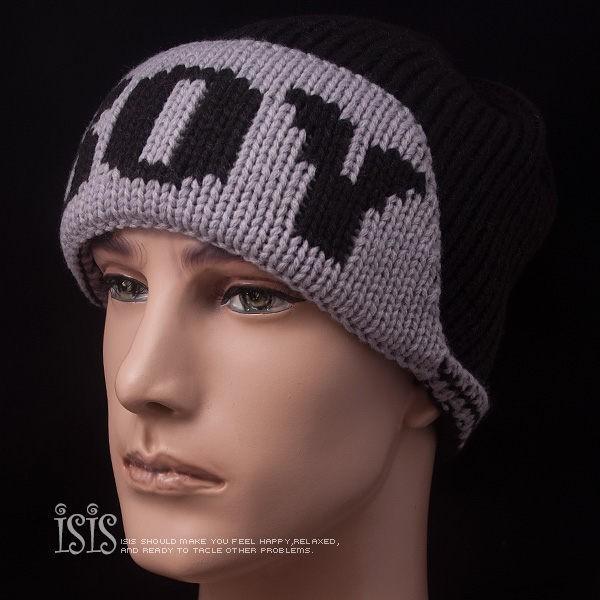 KURO-SHOP潮流新風格 黑色 BOY 翻帽沿 針織帽