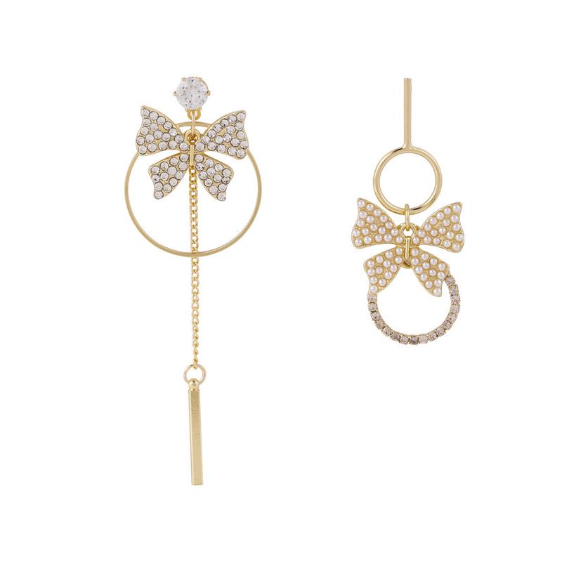 韓國長款不對稱珍珠蝴蝶流蘇耳環