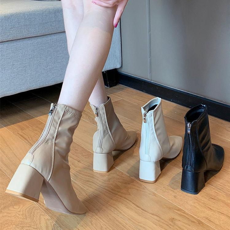靴子女 馬丁靴 韓版歐美馬丁靴 粗跟2021春季新款短靴中跟馬丁靴 英倫風方頭網紅彈力瘦瘦靴 薄款後拉鍊百搭透氣粗跟靴子