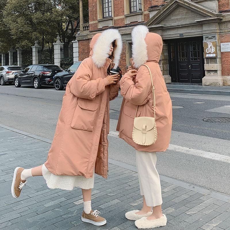 【現貨】冬季棉衣女 2021冬季閨蜜裝大毛領棉衣 韓版寬鬆羽絨棉服女 中長款過膝加厚外套 大碼加厚連帽外套