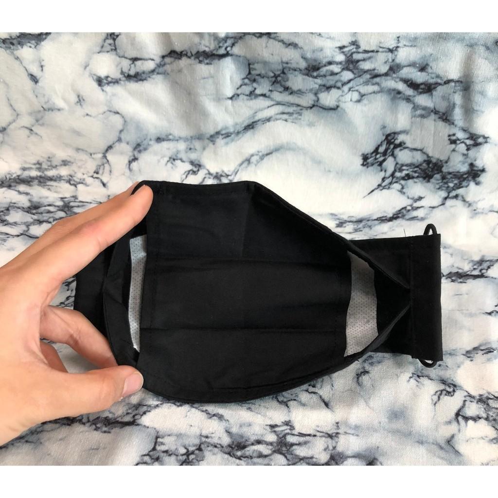 """舟型口罩-60支棉""""布口罩""""-黑色....有夾層可放置替換濾材喔"""