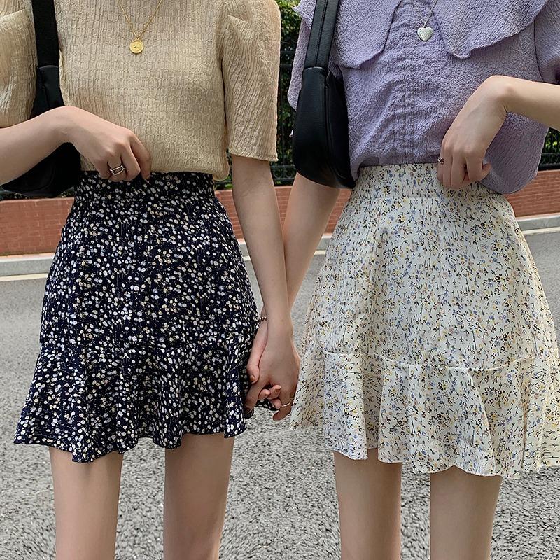 IELGY 碎花半身裙女2021新款夏季高腰a字裙短裙顯瘦荷叶邊雪紡裙子ins