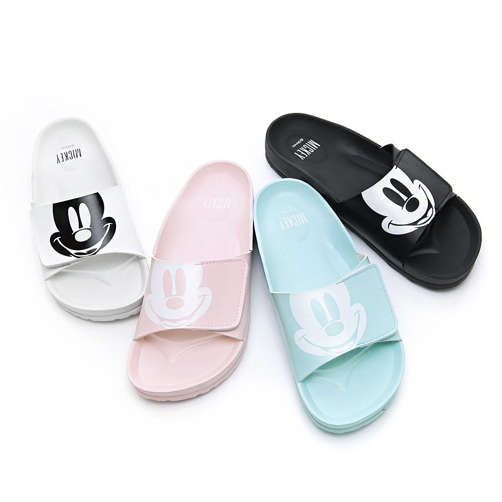 DISNEY 米奇大頭休閒拖鞋-白/黑/藍/粉(DW5162)