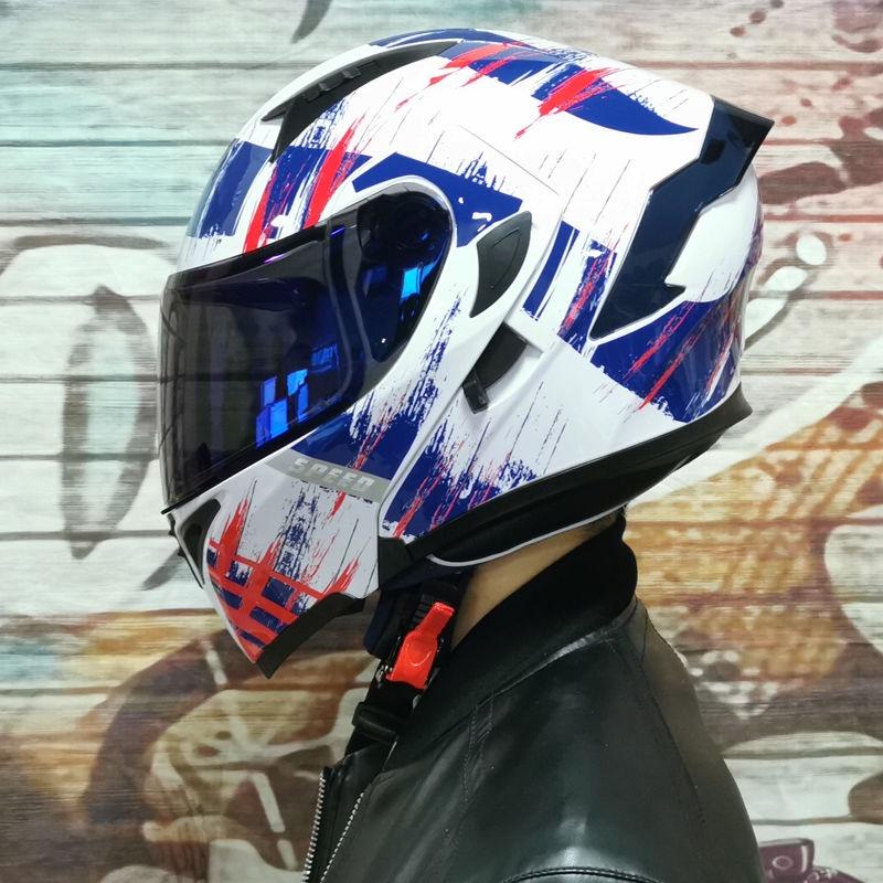 熱賣現貨Orz電動車安全帽男女揭面盔雙鏡尾翼半盔個性電瓶車頭灰四季