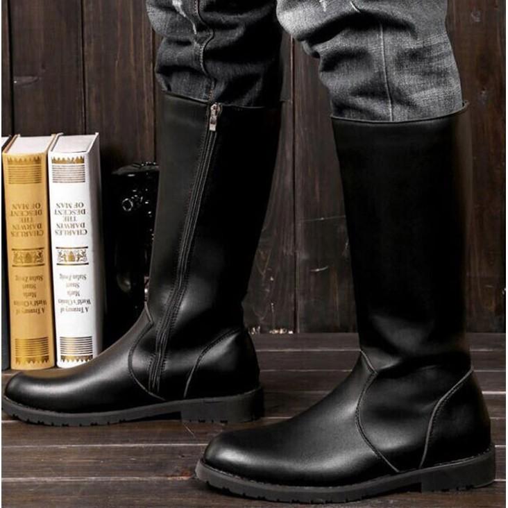 新款男士大碼馬丁靴韓版拉鏈高筒靴尖頭皮靴男長靴高幫閱兵軍靴子45碼皮鞋