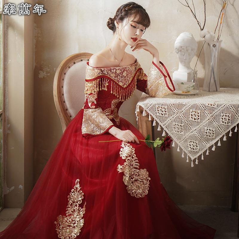 可訂製🔥酒紅色 一字領 露肩 敬酒服 孕婦可穿 禮服 裙 晚禮服 晚宴服 宴會服 長禮服 一字領敬酒服新娘
