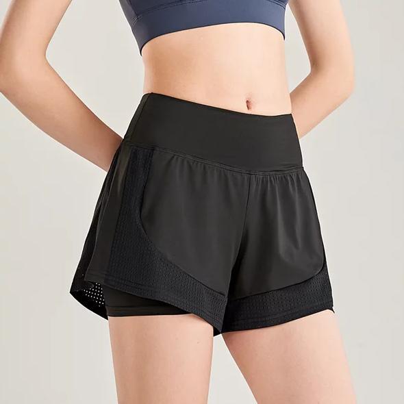 SUPER COLOR 運動短褲雙層防走光假兩件跑步瑜伽健身慢跑短褲