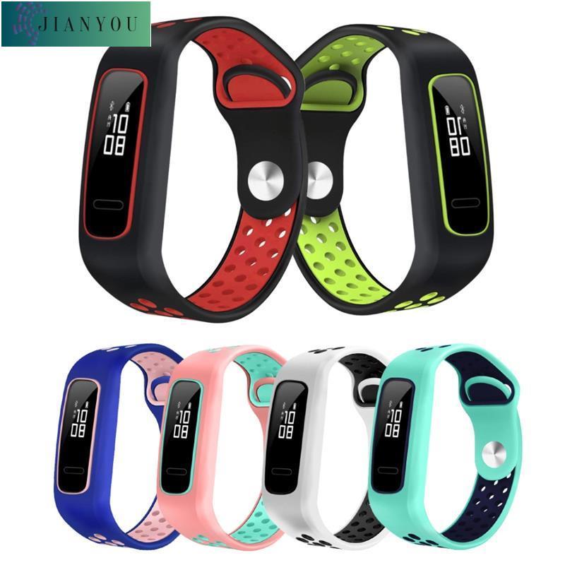 ⚡️易安裝⚡️新款新品⚡️適用於華為榮耀手環 4 running版 /手環band 3E/4E矽膠錶帶 替換雙色腕帶