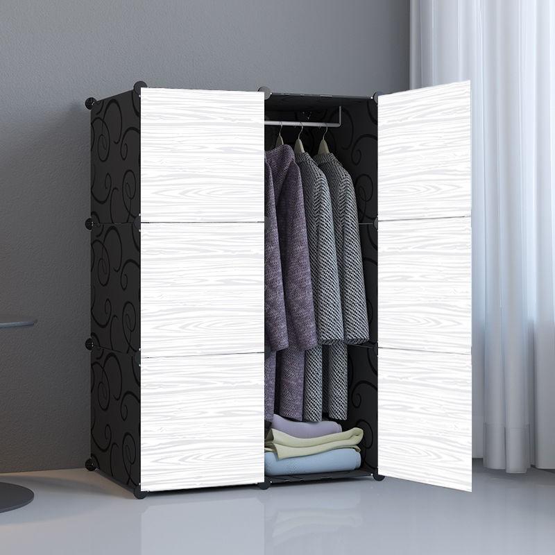 居家收納必備 衣柜簡易組裝家用簡約現代臥室家具布鋼管加粗加固小掛收納柜實木