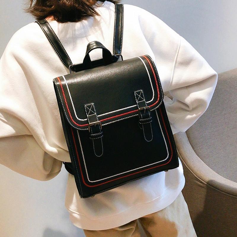 學院風復古皮雙肩包女2018新款中學生書包百搭定型旅行背包休閑包