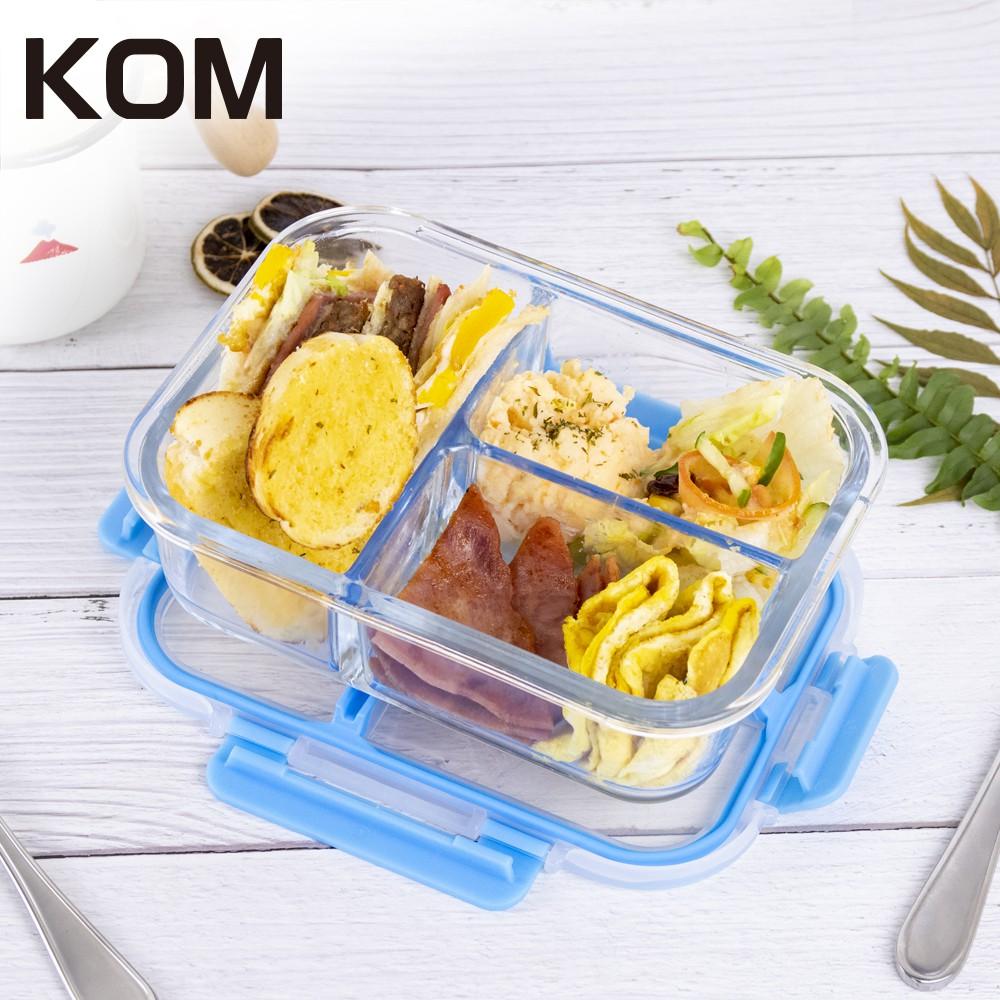 [出清下殺]【KOM】分隔玻璃保鮮盒-方(藍)《屋外生活》