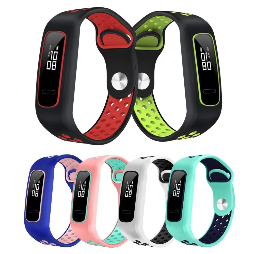 適用於華為榮耀手環 4 running版 /手環band 3E/4E矽膠錶帶 替換雙色腕帶 AW70時尚反扣款運動表帶