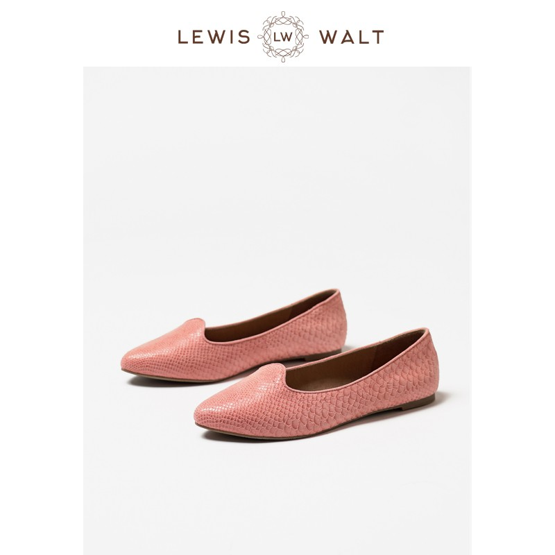 【Lewis Walt】尖頭淺口羊皮蛇紋通勤百搭大碼平底芭蕾單鞋女