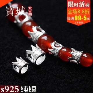 【純銀配件】s925純銀素銀橫穿皇冠隔珠diy手工水晶手鍊編織項鍊飾品配件材料
