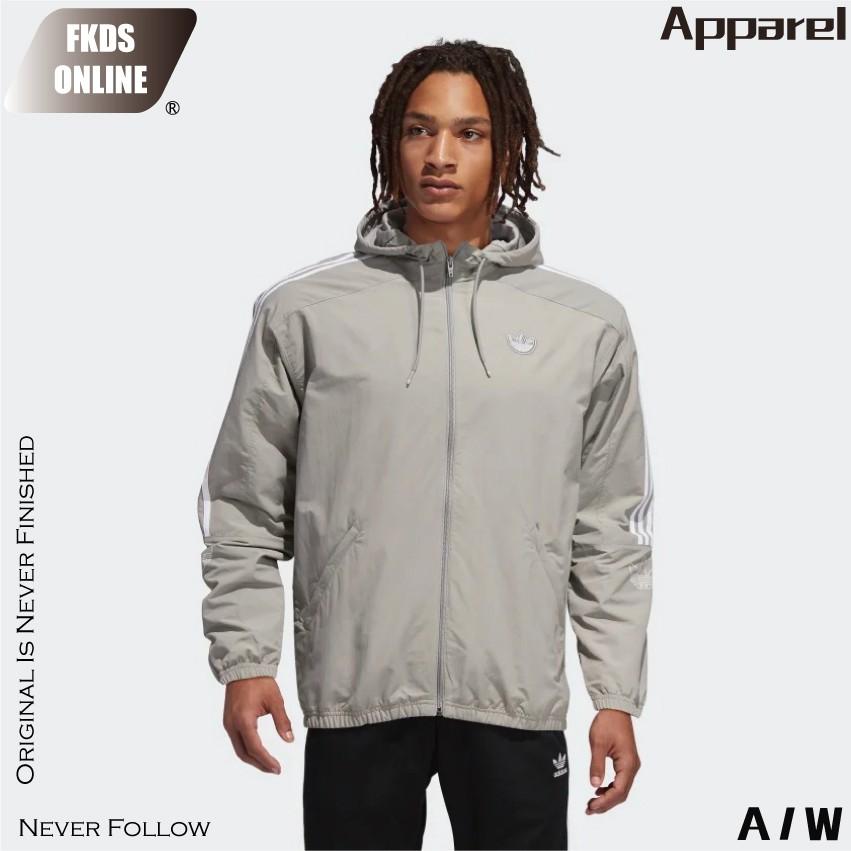 ADIDAS 愛迪達 三葉草系列 灰白 肩三線 風衣外套 防風外套 休閒外套 運動外套 連帽外套 外套 ED4689