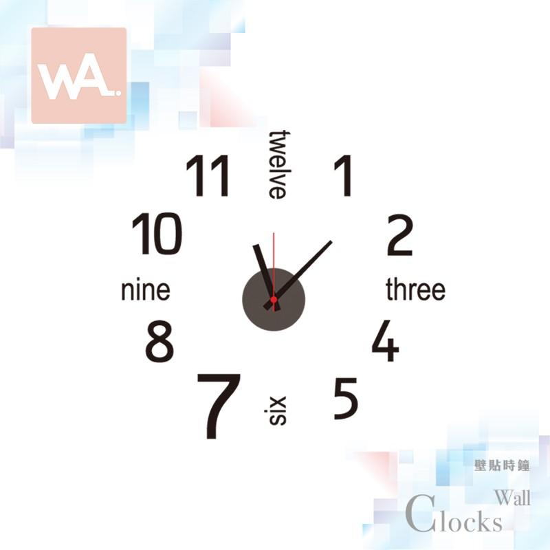 Wall Art 現貨 設計壁貼時鐘 掃描機芯 簡約數字 不傷牆面 可重複撕貼 展覽 創意 布置 DIY 裝潢 裝飾