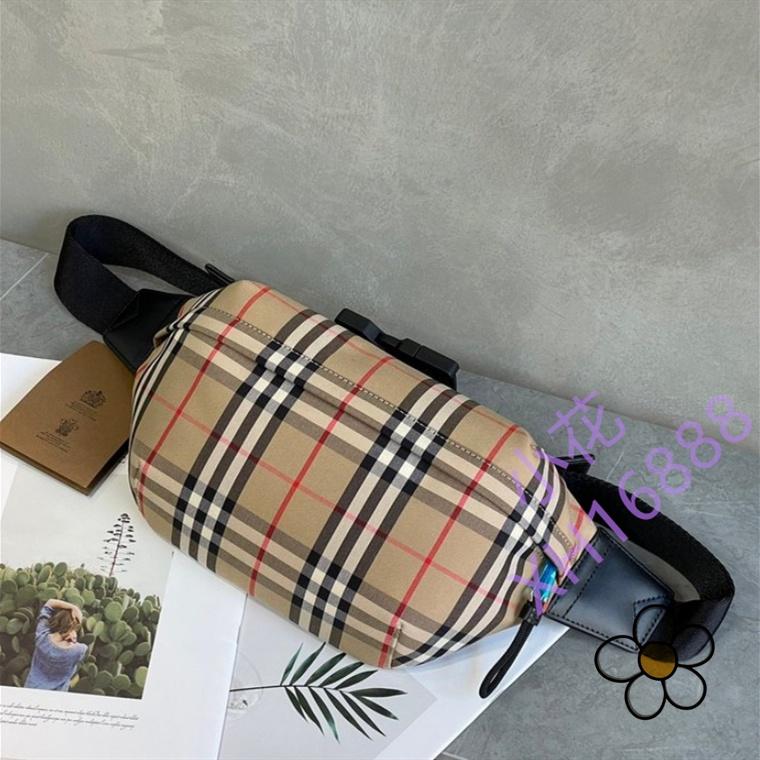 【小花】二手BURBERRY 博柏利 中號 Vintage 駝色格紋 棉質腰包 胸包 斜挎包 80104301