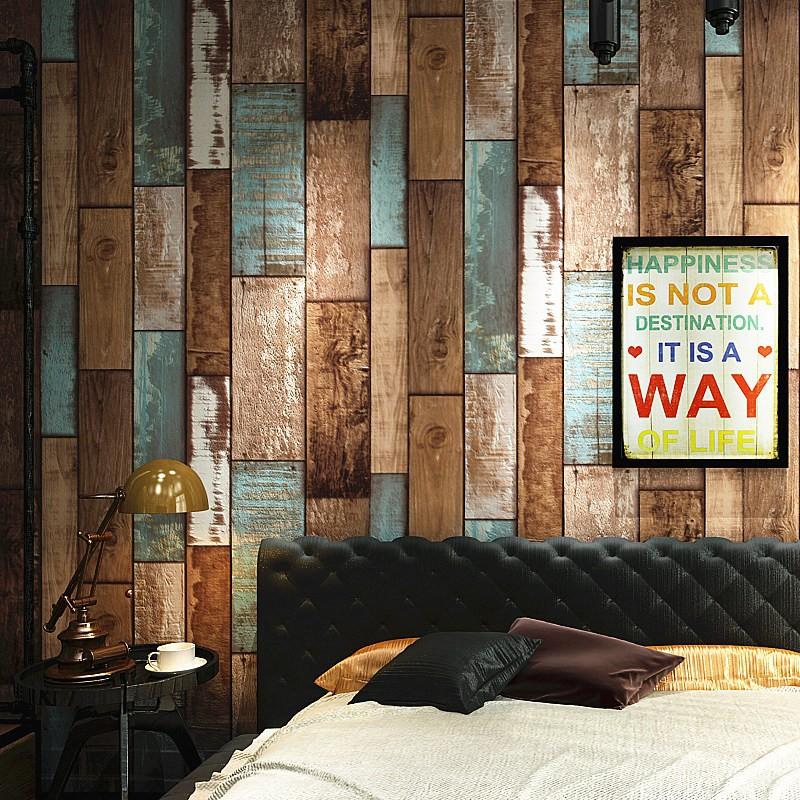 爆款熱賣@彩色復古懷舊木板壁紙 個性木紋酒吧餐廳咖啡廳背景牆服裝店牆紙