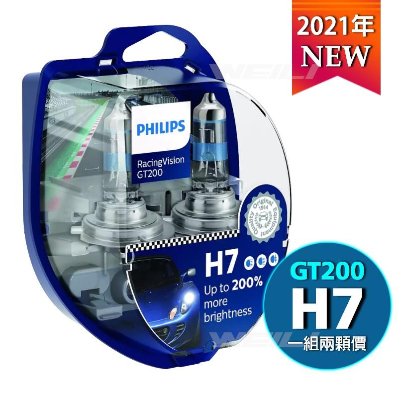【新品】PHILIPS飛利浦 RacingVision 競技光GT200 +200% H7大燈燈泡