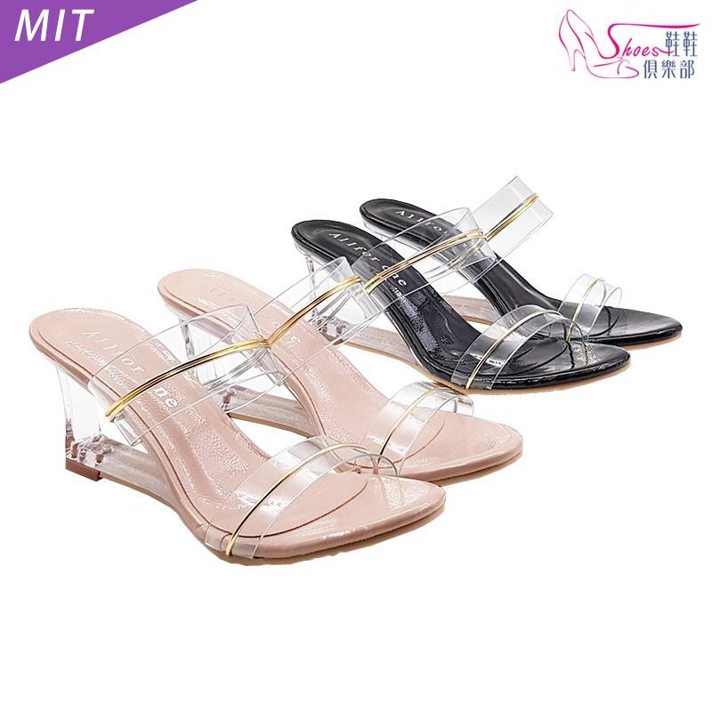 鞋鞋俱樂部 MIT透明仿玻璃鞋款雙寬帶高跟拖鞋7.5cm 粉/黑 024-DC9511