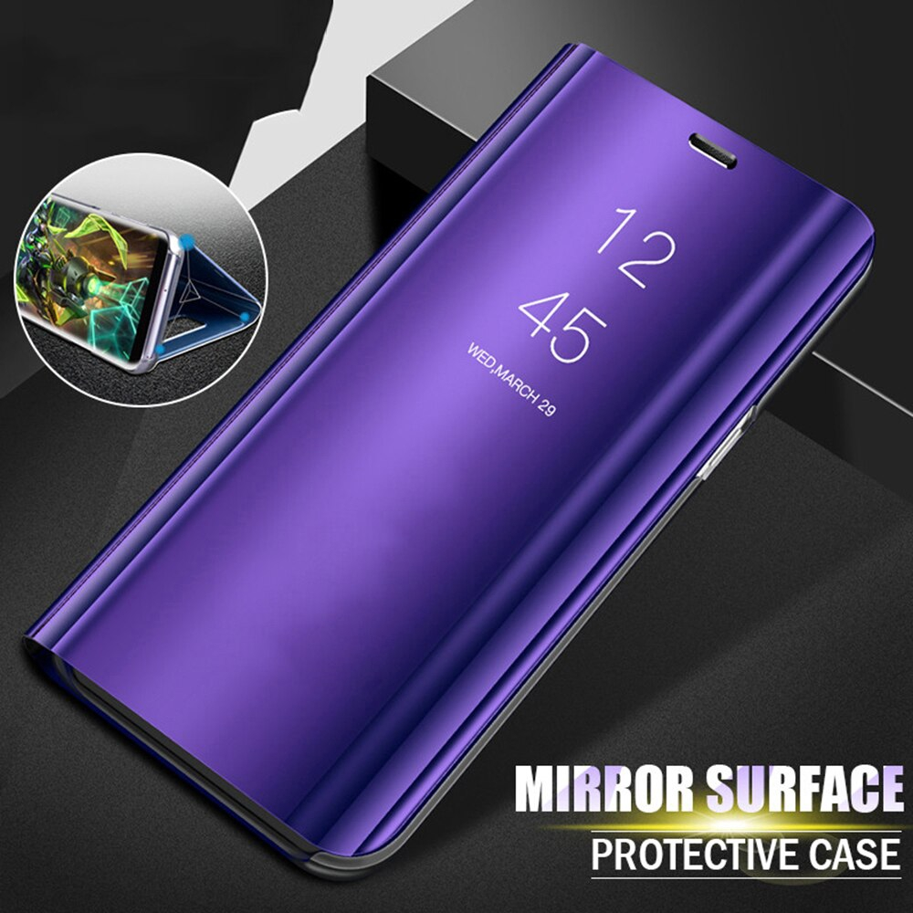 鏡面翻蓋手機殼三星 Galaxy A50 A70 A30 A40 Stand Luxury Case Galaxy A