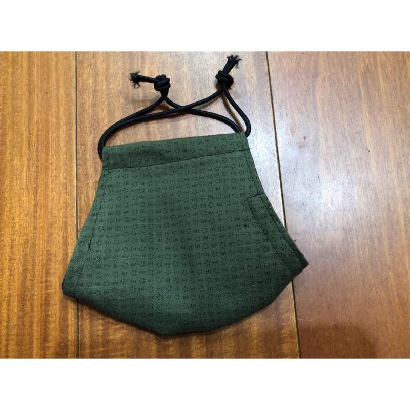 手作立體口罩布口罩墨綠色(附耳繩,可放濾材)
